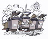Cartoon: rubbish control (small) by HSB-Cartoon tagged rubbish,garbage,refuse,bin,müll,mülleimer,police,polizei,abfall,cartoon,karikatur,caricature
