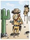 Cartoon: hands up (small) by Wadalupe tagged cactus,far,west,pistolero,caballo,oeste,desierto,revolver,sol,arizona,usa,gunman