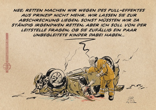 Cartoon: Rettung nach Seehofer (medium) by Guido Kuehn tagged seehofer,moria,flucht,seehofer,moria,flucht