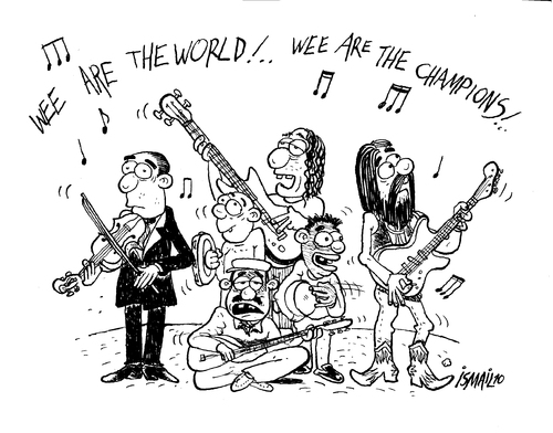 Cartoon: We are the world (medium) by ismailozmen tagged music,ismail,özmen