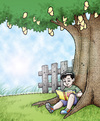 Cartoon: boy reading under the tree (small) by jayson arellano tagged reading