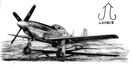 Cartoon: P-51D Mustang (medium) by Teruo Arima tagged aircraft,america,airplane,war,attacker,chinko,manko