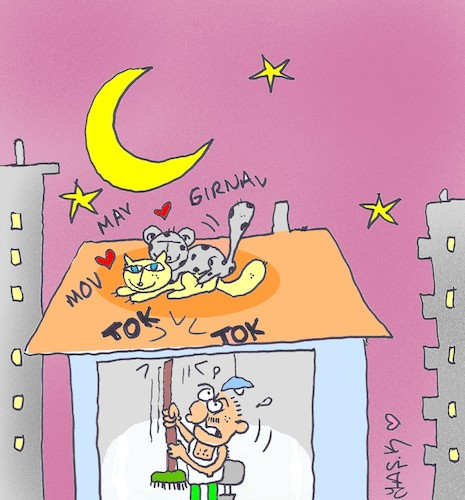 Cartoon: roof lovers (medium) by yasar kemal turan tagged roof,lovers
