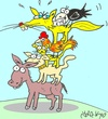 Cartoon: Guests (small) by yasar kemal turan tagged guests,bremen,fox,crow,cheese