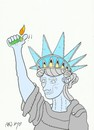 Cartoon: lighter (small) by yasar kemal turan tagged lighter statue of liberty usa
