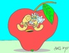 Cartoon: marriage (small) by yasar kemal turan tagged marriage apple worm love founded