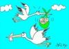 Cartoon: population-condom (small) by yasar kemal turan tagged population,condom,stork,baby