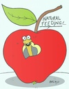Cartoon: respect for life (small) by yasar kemal turan tagged respect for life worm apple feed hormone natural love