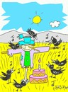 Cartoon: surprise friends (small) by yasar kemal turan tagged surprise friends crow railing birthday love
