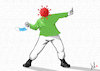 Cartoon: Rage - the mask thrower (small) by Emanuele Del Rosso tagged vaccine,coronavirus,wealth,pandemic,masks