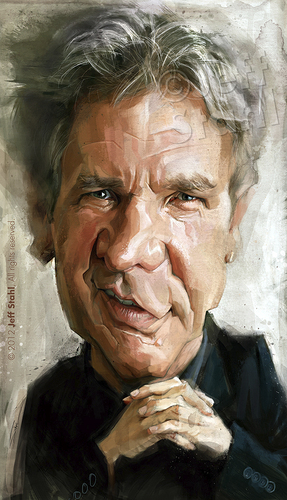 Cartoon: Harrison Ford (medium) by Jeff Stahl tagged harrison,ford,indiana,jones,han,solo,caricature,digital,painting,actor,man,jeff,stahl