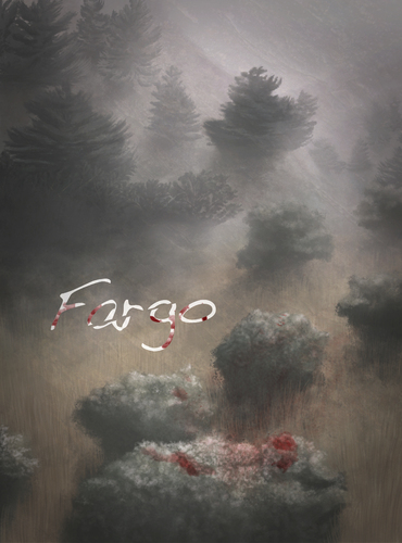 Cartoon: Fargo (medium) by alesza tagged digital,art,design,fargo,series,movie,bloody,scary,forest,woods,painting,illustration,nature