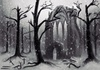 Cartoon: Ancient Monastery (small) by alesza tagged ancient,monastery,trees,digital,painting,snow,nature,cemetery