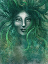 Cartoon: Bruja (small) by alesza tagged bruja,witch,painting,digital,art,illustration,girl,woman,green,hair,face