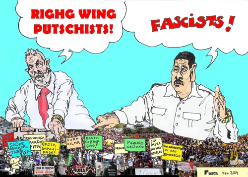 Cartoon: Lula and Maduro against people (medium) by Fusca tagged lula,maduro,terror,communist,regime,castrism,bolivarian,corruption,hostages,people