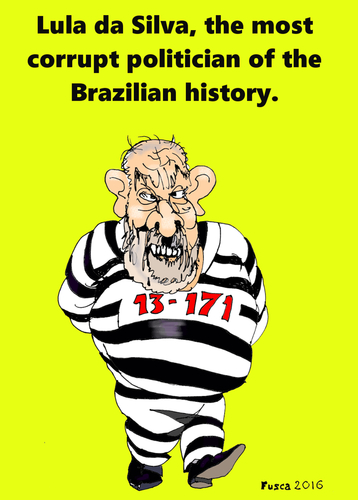 Cartoon: Lula da Silva in jail (medium) by Fusca tagged lula,da,silva,jail,corruption,brazil,petrobras,imprisonment,corrupt,politician