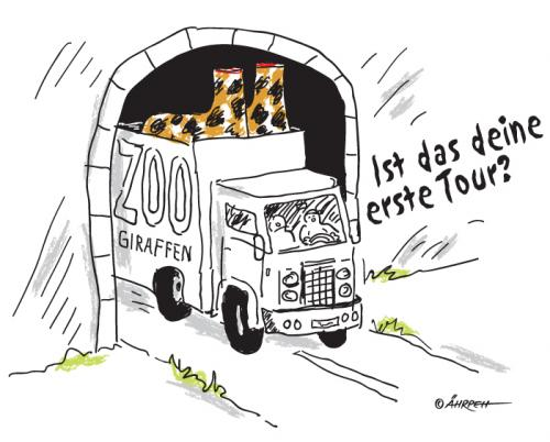 Cartoon: Aushilfsfahrer (medium) by rpeter tagged tunnel,lkw,giraffen