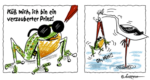 Cartoon: Blind Date (medium) by rpeter tagged frosch,storch,blind,prinz