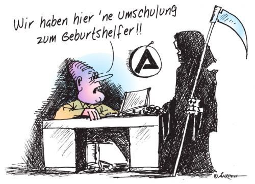 Cartoon: Neulich bei der Arbeitsagentur (medium) by rpeter tagged arbeitsamt,tod
