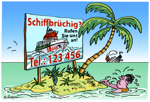 Cartoon: Service (medium) by rpeter tagged schiffbruch,meer,schiff,insel