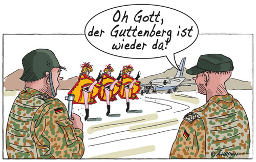 Cartoon: Showtime (medium) by rpeter tagged guttenberg,krieg,afghanistan,truppenbesuch