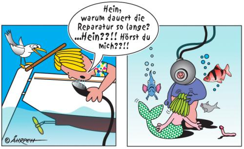 Cartoon: Tauchgang (medium) by rpeter tagged taucher,wasser,nixe,boot