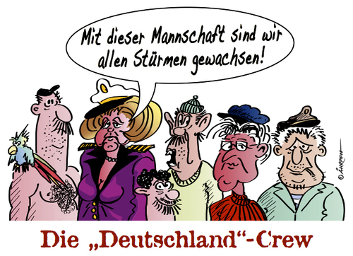 Cartoon: Traumschiff (medium) by rpeter tagged merkel,steinmeier,crew,deutschland,regierung,krise