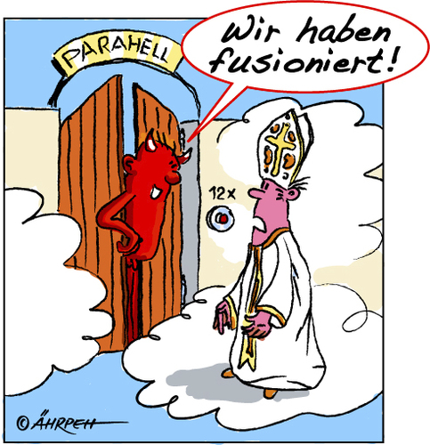 Cartoon: Überraschung (medium) by rpeter tagged papst,kirche,hölle,teufel,himmel,paradies,fusion