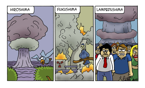 Cartoon: Lampedushima (medium) by ignant tagged profughi,libia,war,cartoon,comic,strip