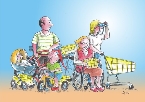 Cartoon: Family Shopping (medium) by Joen Yunus tagged cartoon,family,shopping,consumption