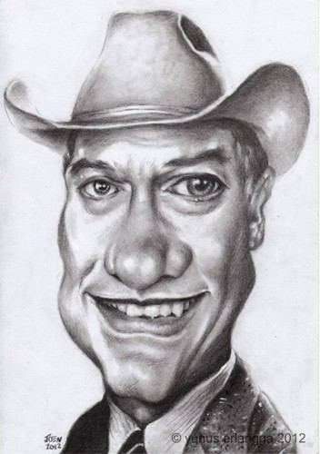 Cartoon: larry hagman (medium) by Joen Yunus tagged caricature,charcoal,larry,actor,television