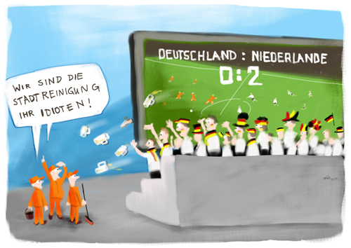 Cartoon: german fans (medium) by kgbr tagged football,soccer,germany,netherlands,wm