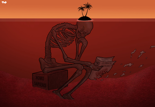 Cartoon: Another Urgent Climate Report (medium) by Tjeerd Royaards tagged un,climate,sea,global,warming,thinker,skeleton,report,action,island,un,climate,sea,global,warming,thinker,skeleton,report,action,island