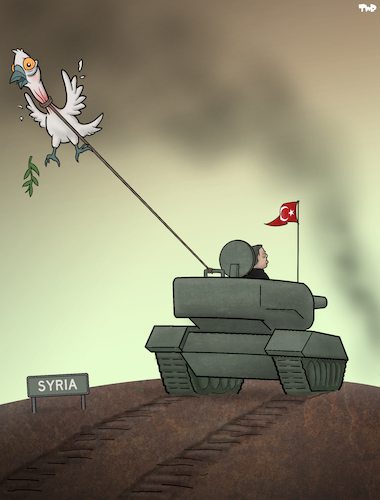 Cartoon: Bringing Peace (medium) by Tjeerd Royaards tagged turkey,kurds,war,syria,tank,erdoganm,turkey,kurds,war,syria,tank,erdoganm