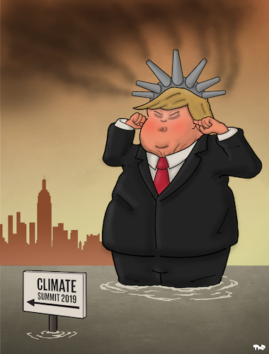 Cartoon: Climate Summit in New York (medium) by Tjeerd Royaards tagged trump,climate,un,nyc,trump,climate,un,nyc