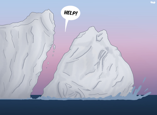 Cartoon: Cry for Help (medium) by Tjeerd Royaards tagged climate,change,ice,antarctica,iceberg,collapse,help,climate,change,ice,antarctica,iceberg,collapse,help