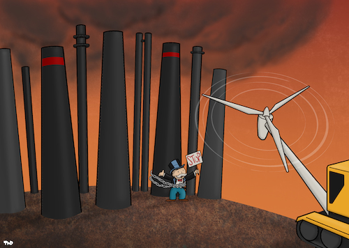 Cartoon: Energy Transition (medium) by Tjeerd Royaards tagged energy,sun,wind,oil,sustainable,sustainability,nature,environment,economy,energy,sun,wind,oil,sustainable,sustainability,nature,environment,economy