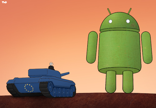 Cartoon: The Android Giant (medium) by Tjeerd Royaards tagged europe,google,money,fine,android,europe,google,money,fine,android