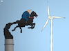 Cartoon: Don Quixote (small) by Tjeerd Royaards tagged trump,climate,usa,wind,turbine,don,quichotte,mill,global,warming