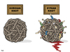 Cartoon: Gordian Knot (small) by Tjeerd Royaards tagged syria,war,problem,tangle,unsolvable,solution,knot