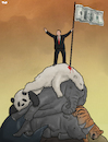 Cartoon: Man on Top (small) by Tjeerd Royaards tagged nature,environment,extinction,eatch,man,human,profit,money,animals