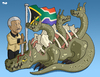 Cartoon: Nelson Mandela (small) by Tjeerd Royaards tagged mandela,apartheid,south,africa,corruption,crime,poverty,slums