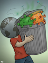 Cartoon: Taking out the trash (small) by Tjeerd Royaards tagged trash trump garbage pandemic coronavirus virus corona