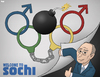 Cartoon: Welcome to Sochi (small) by Tjeerd Royaards tagged putin,sochi,russia,olympics,terrorism,gay,rights,propaganda