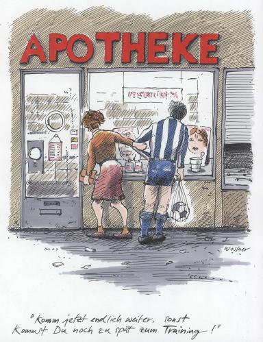 Cartoon: fussball apotheke (medium) by woessner tagged fussball,sport,apotheke,drogen,beziehung,pharmaka,fussball,sport,apotheke,drogen,beziehung,pharmaka,pharmazie,training,spieler,trainieren,doping,dopingskandal,blutprobe,urinprobe,dopingtest,testosteron,pharma,pharmaindustrie,pharmakonzerne,pharmazeutika,trainingslager