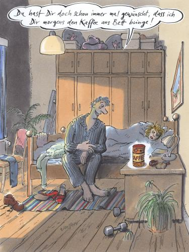 kaffee ans bett von woessner liebe cartoon toonpool. Black Bedroom Furniture Sets. Home Design Ideas