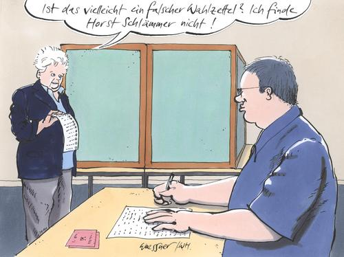 Cartoon: schlämmer (medium) by woessner tagged horst,schlämmer,kerkeling,wahl,politik,stimmabgabe,horst schlämmer,wahl,wahlen,hape kerkeling,komiker,stimmabgabe,wähler,abstimmen,horst,schlämmer,hape,kerkeling