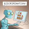 Cartoon: I am not a robot (small) by Rovey tagged robot,internet,pc,computer,discrimination,web,personality,security,machine,artificial,consciousness,intelligence,ai,click,automaton,robotics