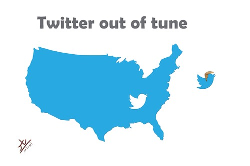 Cartoon: Twitter out of tune (medium) by yaserabohamed tagged trump