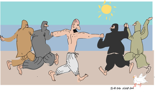 Cartoon: Bathers (medium) by gungor tagged france